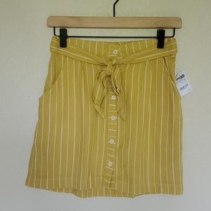 Mustard button front tie belted mini skirt S